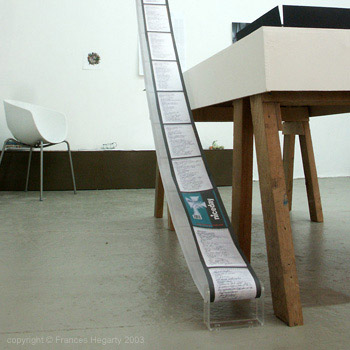 Frances Hegarty 'Conveyor Notebook' small installation 2003